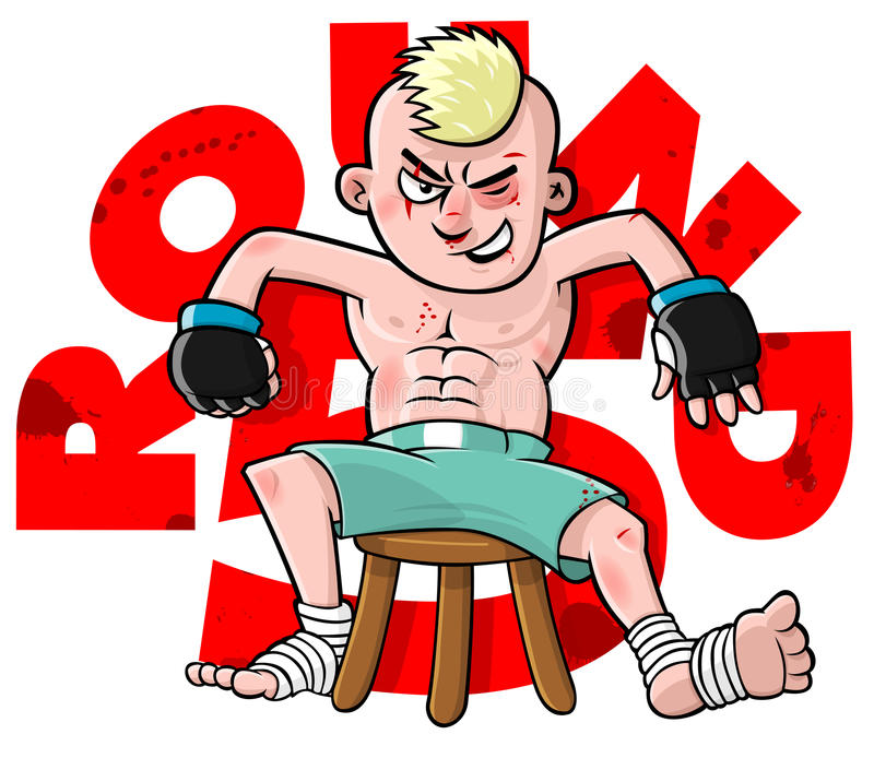 Lutador dos desenhos animados MMA ilustração do vetor