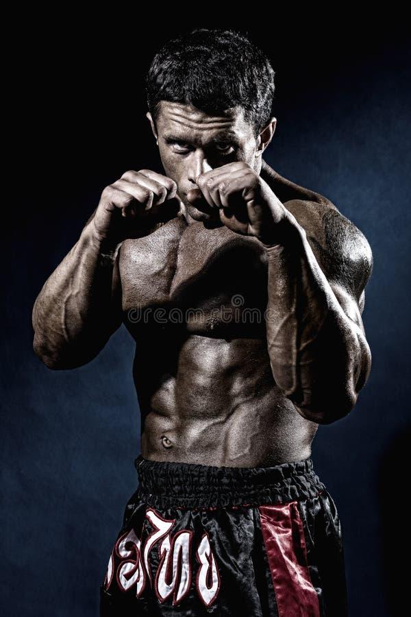 Lutador em uma cremalheira com punhos Retrato de um pontapé-pugilista fotografia de stock royalty free