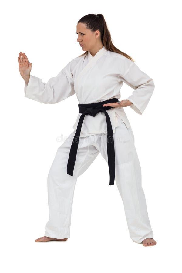 Lutador fêmea que executa a posição do karaté imagens de stock