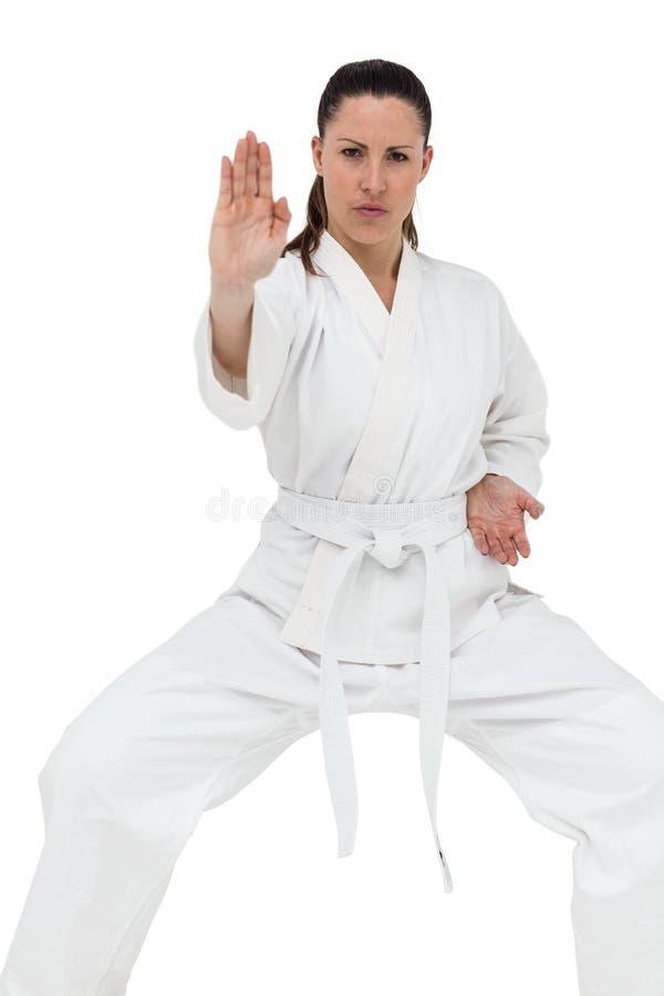 Lutador fêmea que executa a posição do karaté fotografia de stock royalty free