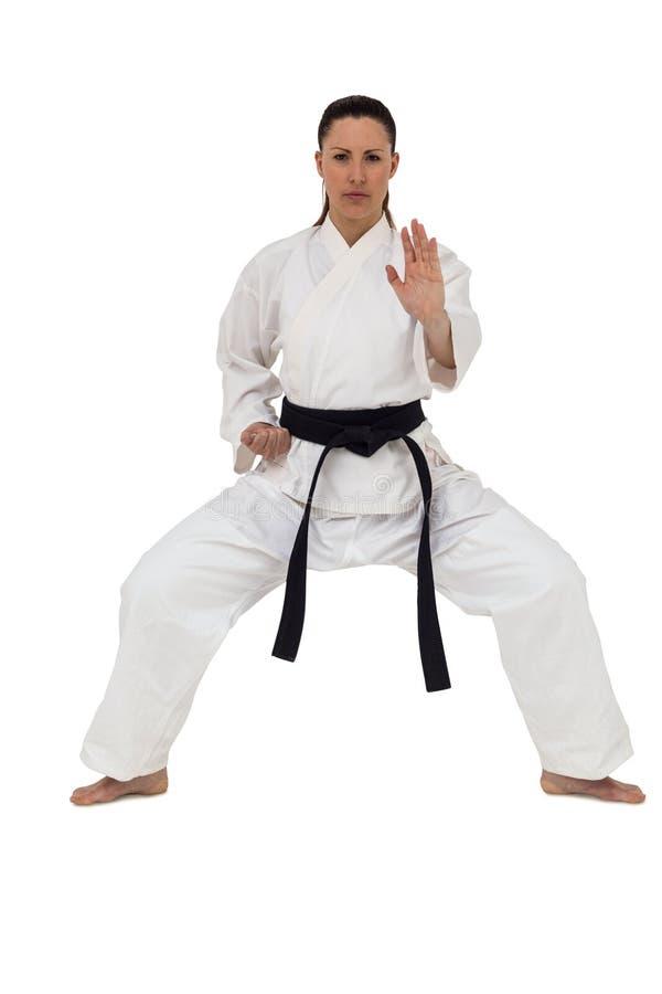 Lutador fêmea que executa a posição do karaté foto de stock