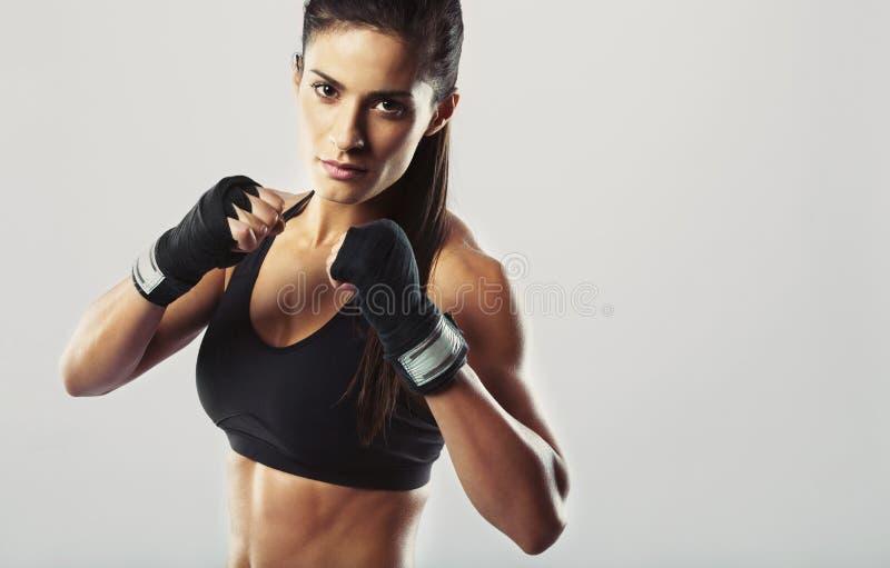 Lutador fêmea que levanta na pose do combate foto de stock