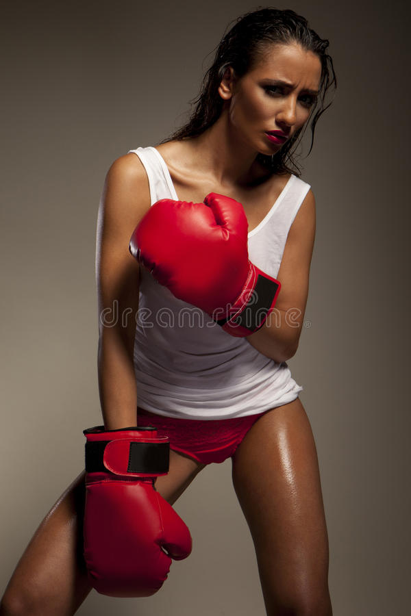 Lutador fêmea 'sexy' foto de stock royalty free