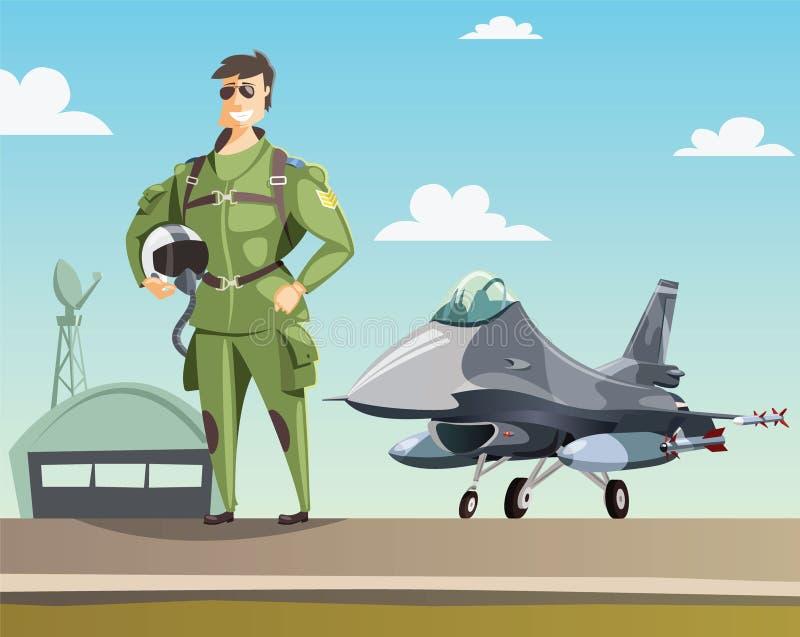 Lutador militar do piloto e de jato na pista de decolagem ilustração stock