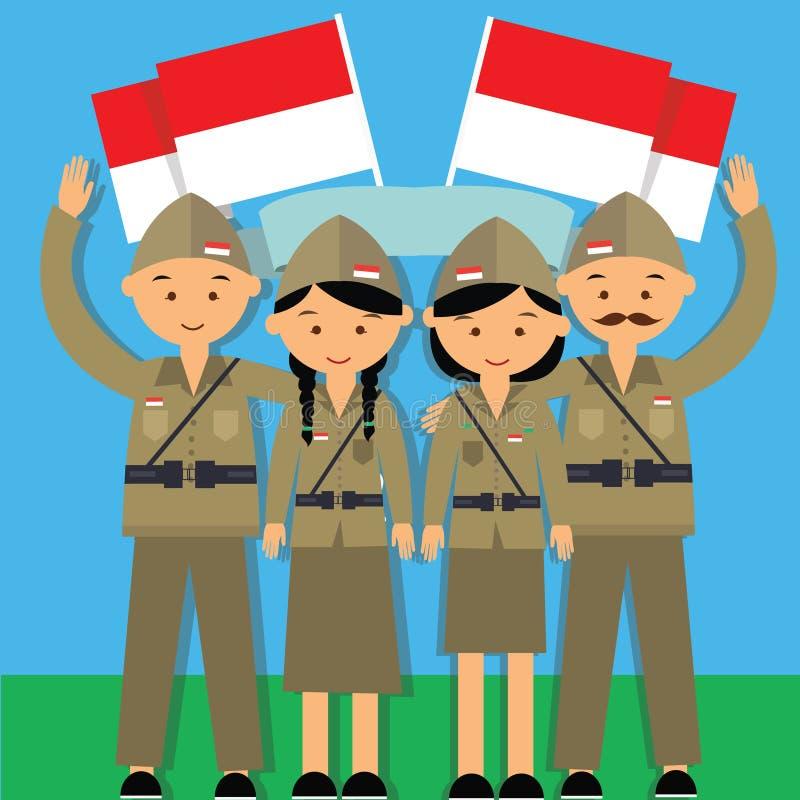 Lutador 1945 pahlawan de Indonésia do veterano do agustus 17 do hari do Dia da Independência ilustração royalty free