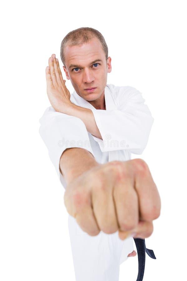 Lutador que executa a posição do karaté imagens de stock royalty free