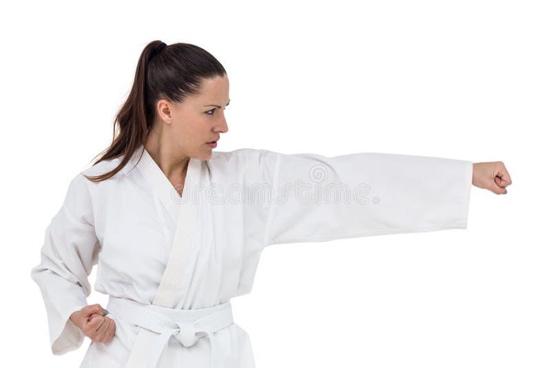 Lutador que executa a posição do karaté foto de stock