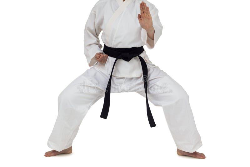 Lutador que executa a posição do karaté fotos de stock