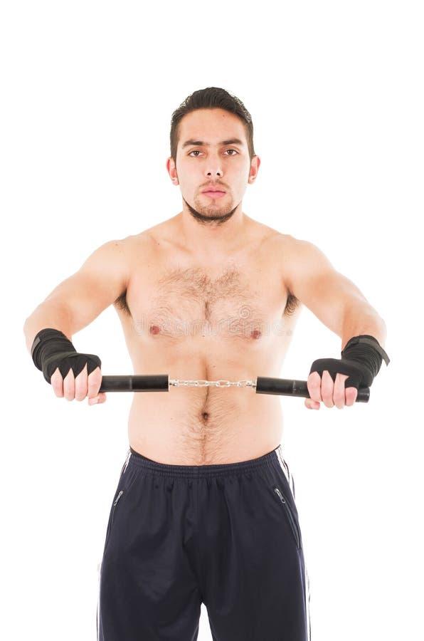 Lutador resistente das artes marciais que veste o short preto foto de stock royalty free