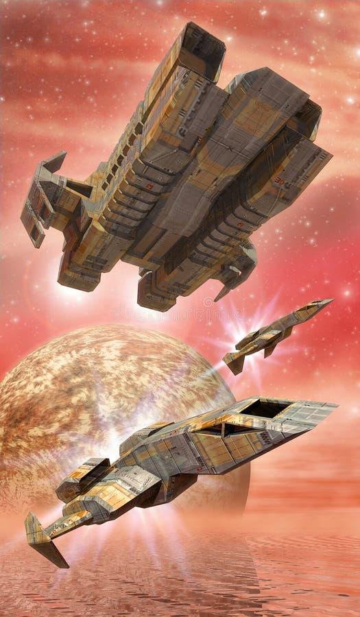 Lutadores da nave espacial no mar ilustração do vetor