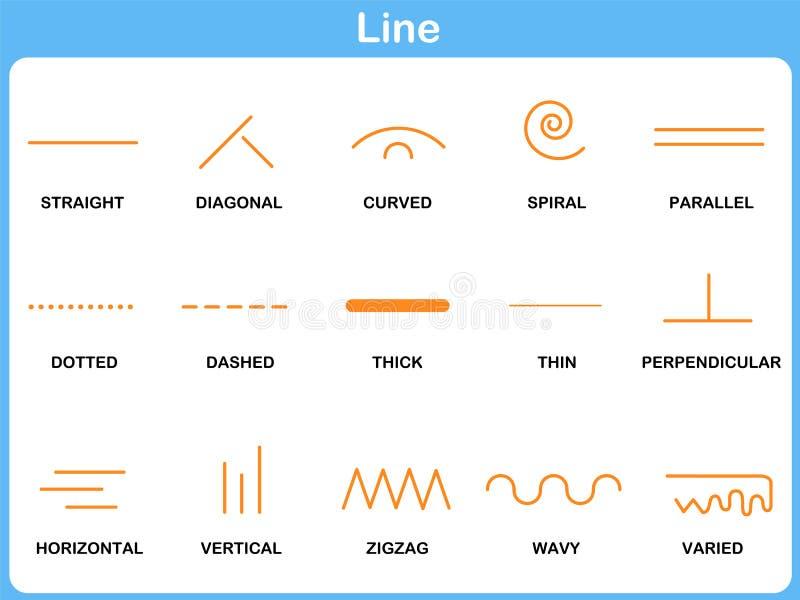 Lutande linje arbetssedel för barn stock illustrationer