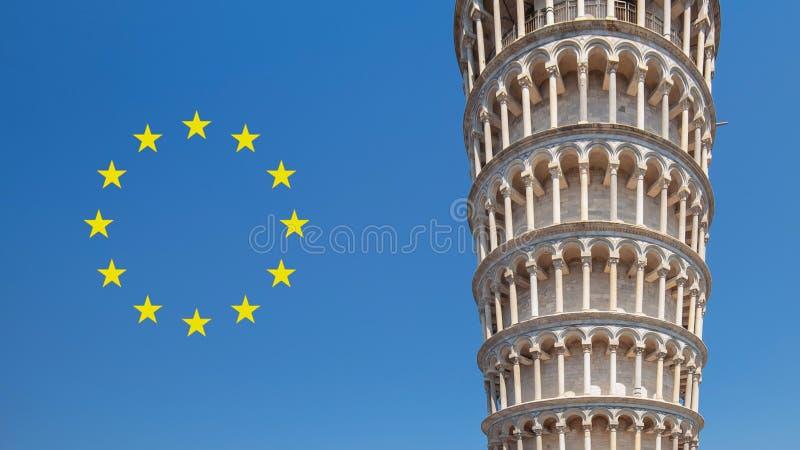 Lutande torn av Pisa med europeisk union bredvid den royaltyfri fotografi