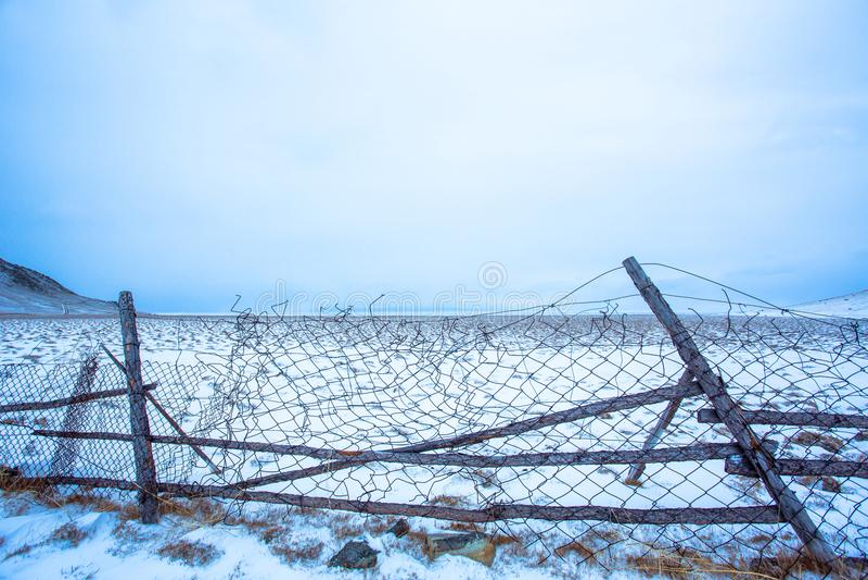 Lutandeboskap fäktar In Siberia royaltyfri bild