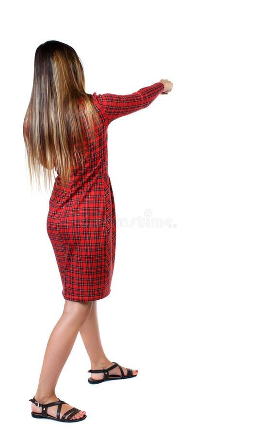 Lutas engraçadas da mulher magro que acenam seus braços e pés fotos de stock