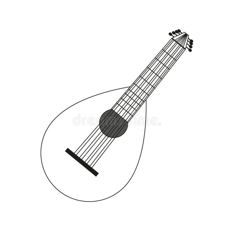 lute contour black white stock vector  illustration of