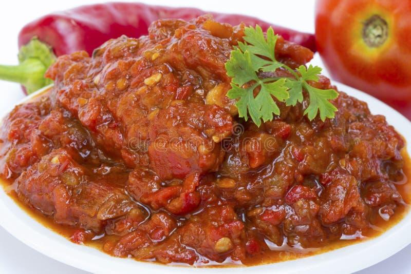 Lutenica pepper and tomato. Relish stock photo