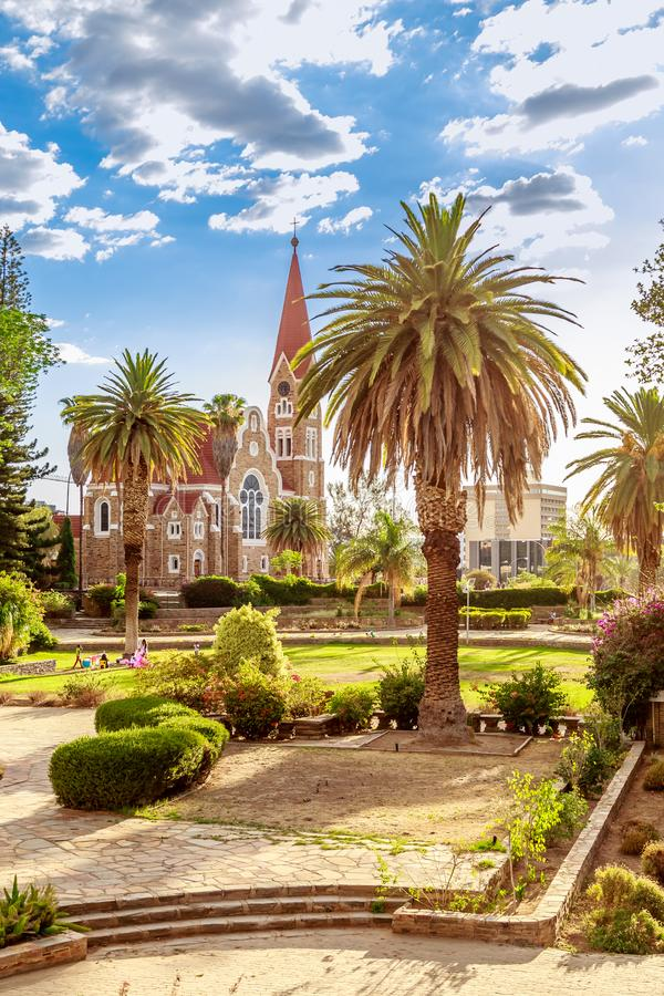 Free Luteran Christ Church And Park With Palms In Front, Windhoek, Na Stock Images - 108049974