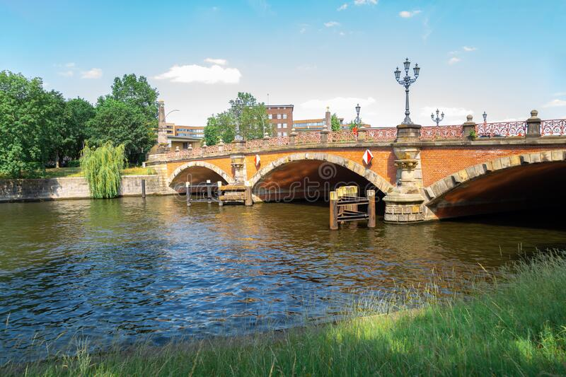 Luther Bridge and Spree river in Berlin, Germany. Europe stock images