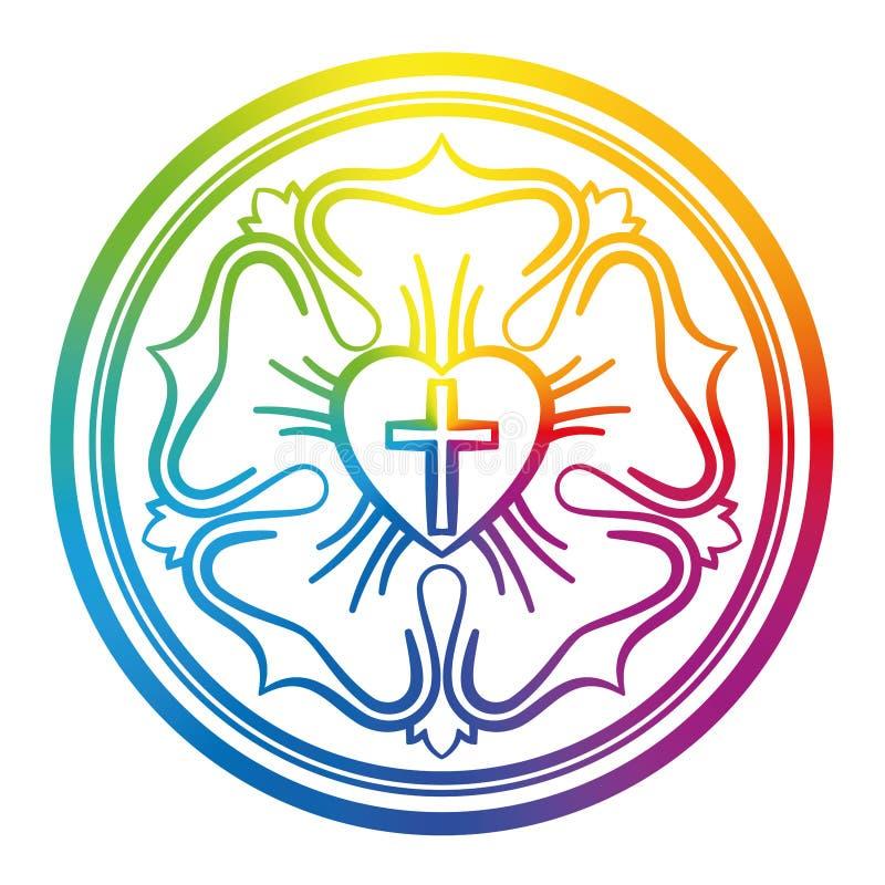 Luther Rose Rainbow Colors Gradient Symbol stock abbildung