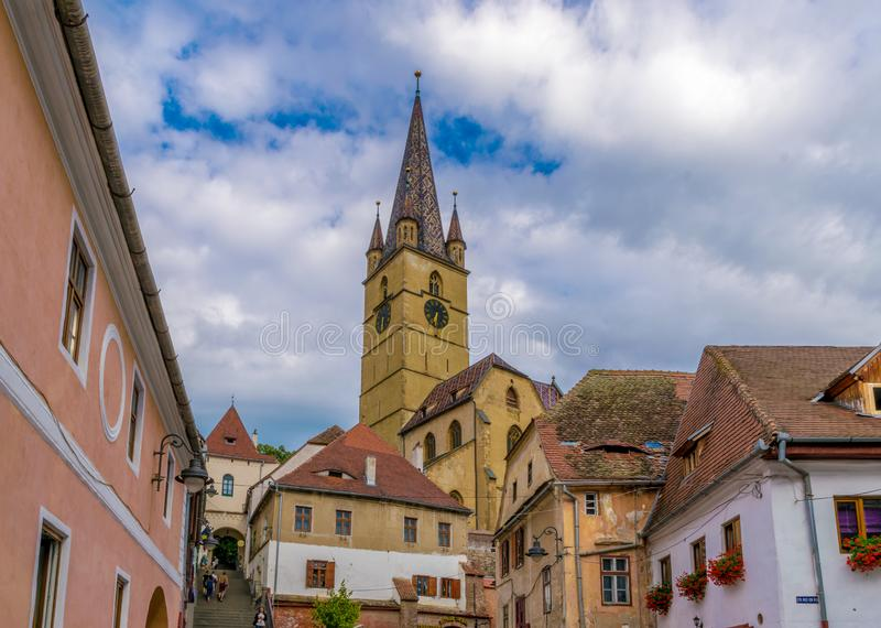 Lutheran Cathedral of Saint Mary on a beautiful sunny summer day in Sibiu, Transylvania region, Romania royalty free stock photography