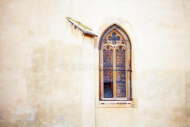 Lutheran Cathedral of Saint Mary stained glass window. In Sibiu (Hermannstadt), Romania stock photos