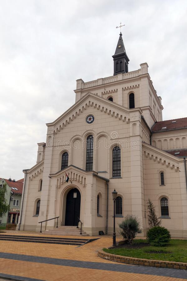 Lutheran church in Kecskemet, Hungary.  stock images