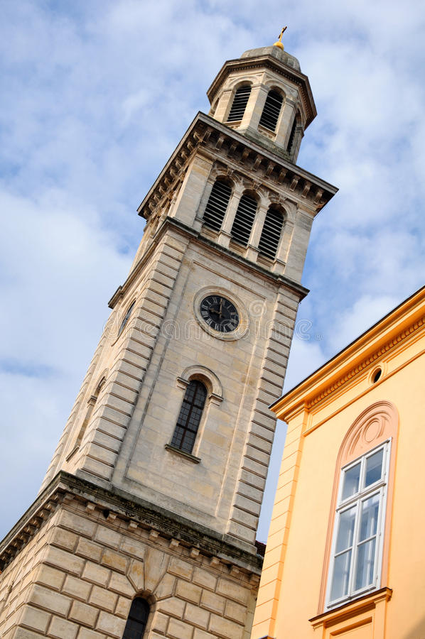 Lutheran church in Sopron, Hungary. Tower Lutheran church in town Sopron, Hungary royalty free stock photography