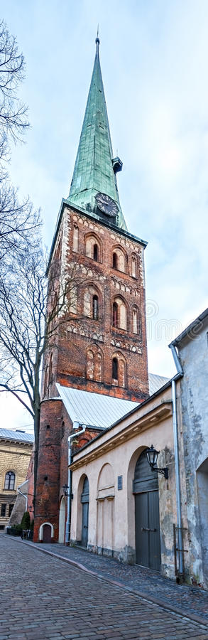 Lutheran church of St. Jacob in old Riga, Latvia. St. Jacob's Cathedral is one of the most central architectonic features of Riga historical centre that stock image