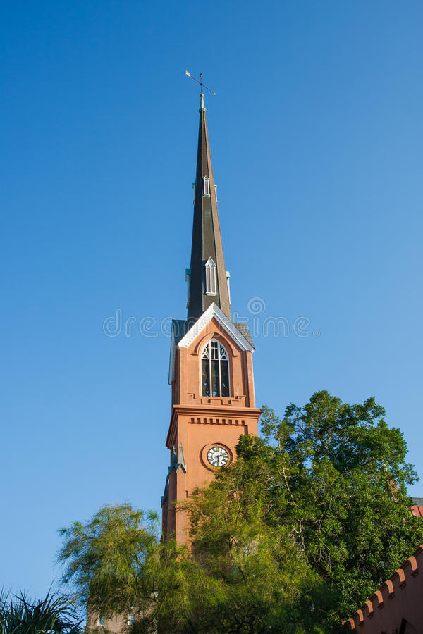Free Lutheran Church Steeple Under Blue Skies Stock Image - 31353891
