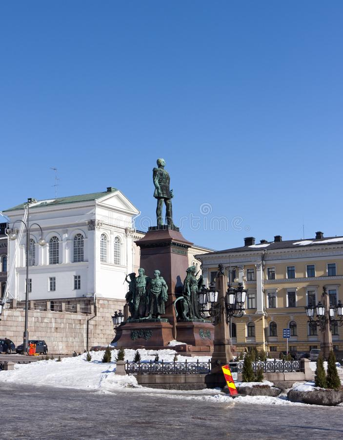 Lutheran Helsinki cathedral and monument to Russian Emperor Alexander II, Finland.  royalty free stock photography