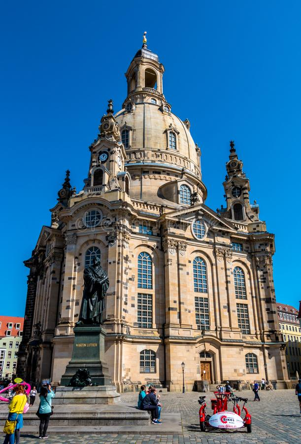 Lutheran kerk Frauenkirche in Dresden, Duitsland royalty-vrije stock fotografie