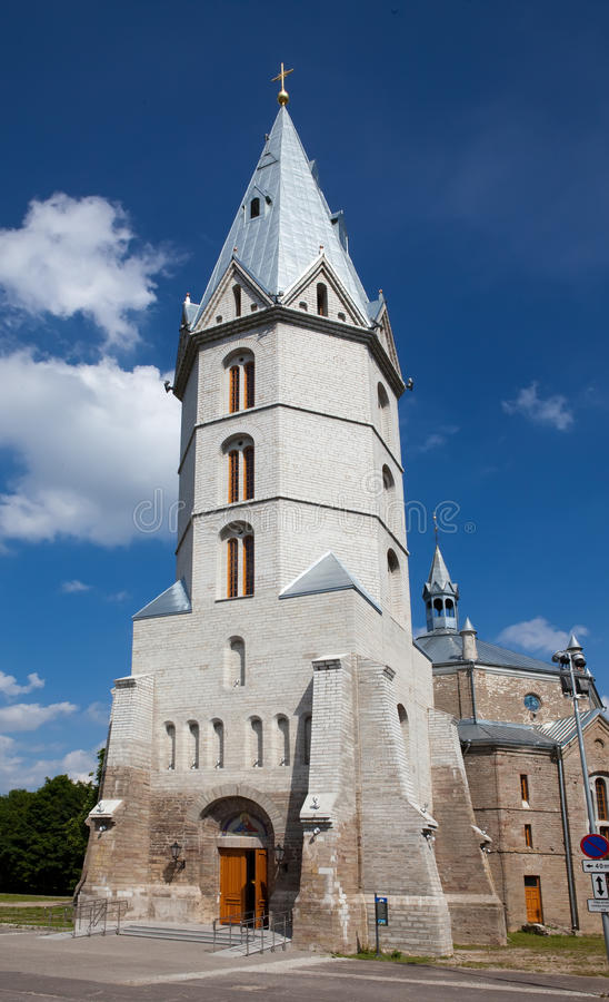 Lutheran kerk van Alexander in Narva, Estland stock afbeelding