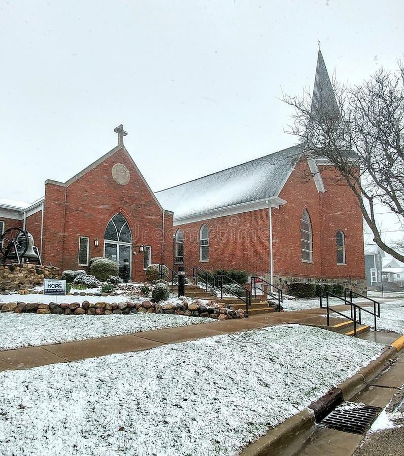 Lutheran Kerk van Saint John - Elkhorn, Wisconsin stock afbeelding