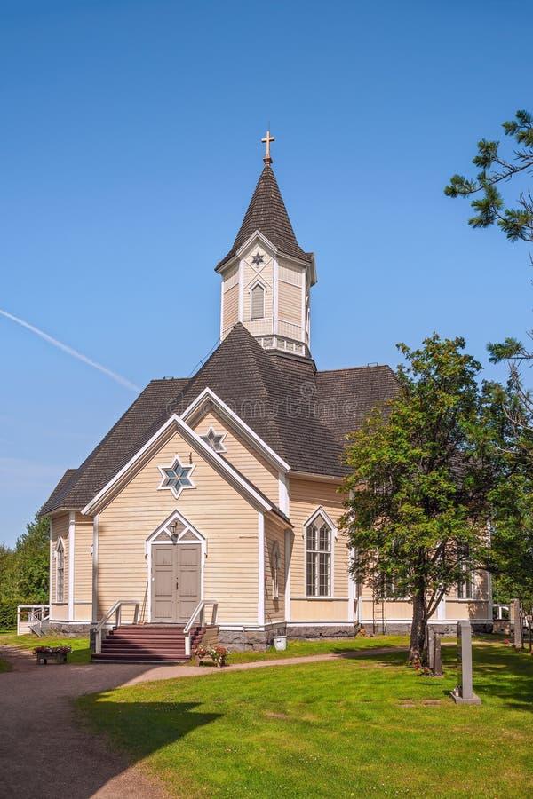 Lutheran kościół w Piippola wiosce Finlandia fotografia stock