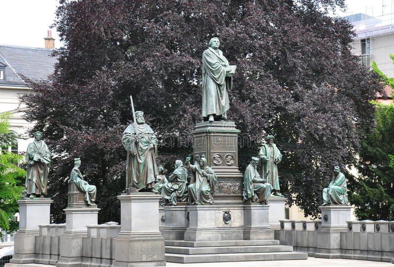 Luthermonument in Wormen, Duitsland stock afbeelding