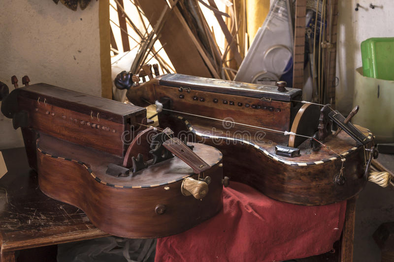 Luthier. Diferent instruments from a luthier workshop stock images