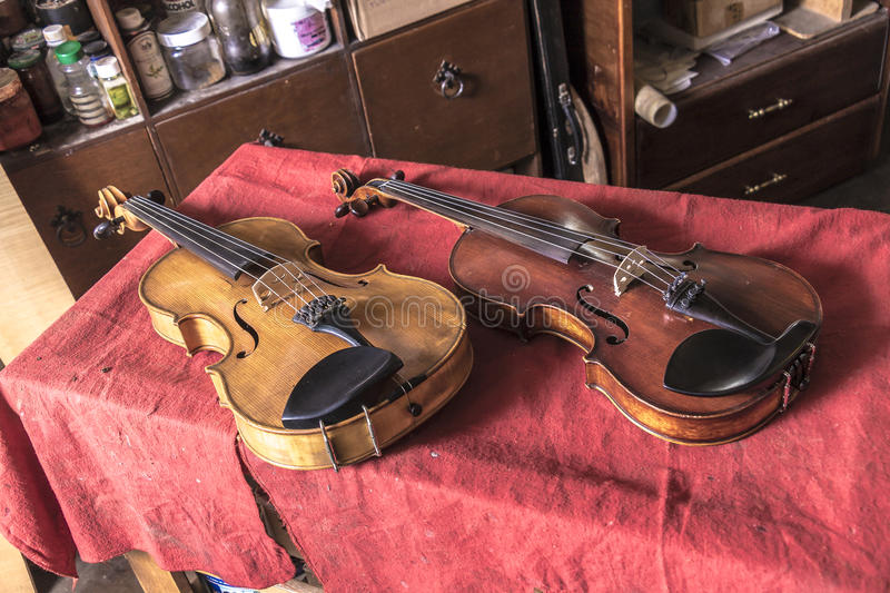 Luthier. Diferent instruments from a luthier workshop royalty free stock images