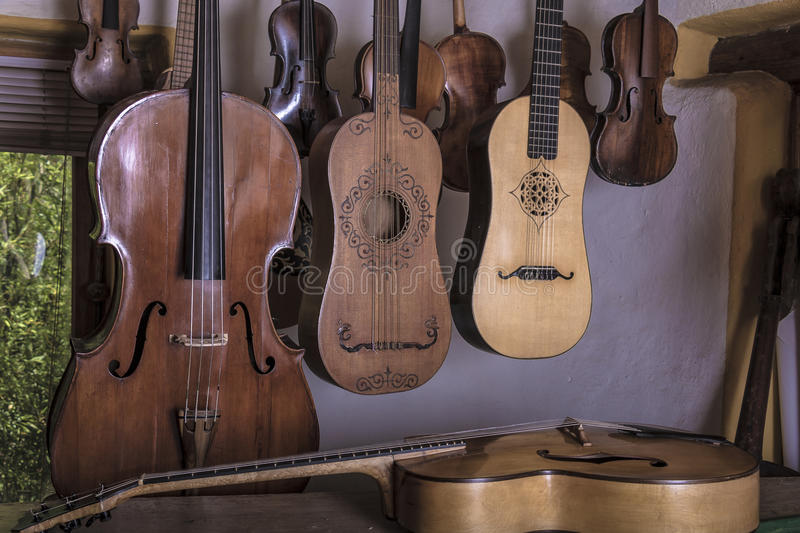 Luthier. String instruments made and reconstructed by a luthier stock photos
