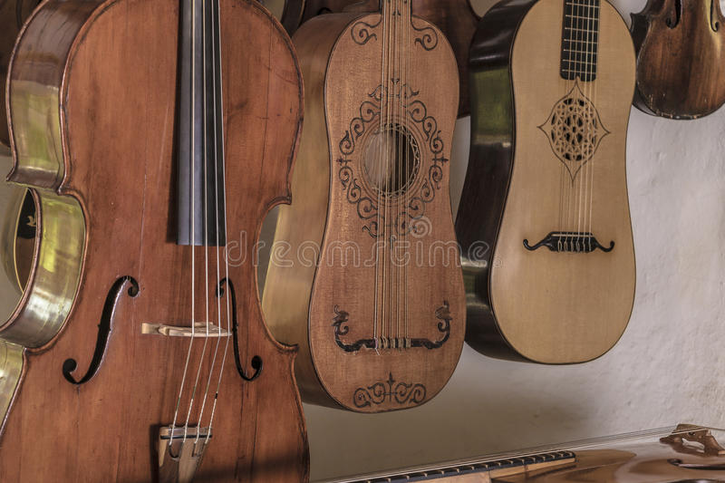 Luthier. String instruments made and reconstructed by a luthier royalty free stock photos