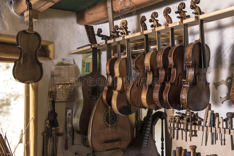 Luthier. String instruments made and reconstructed by a luthier stock photography