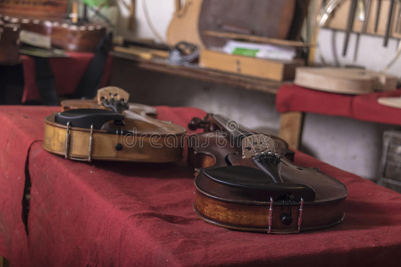 Luthier. String instruments made and restore by a luthier stock photography