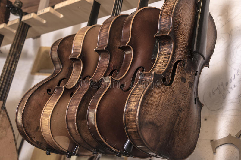 Luthier. String instruments made and restore by a luthier stock image