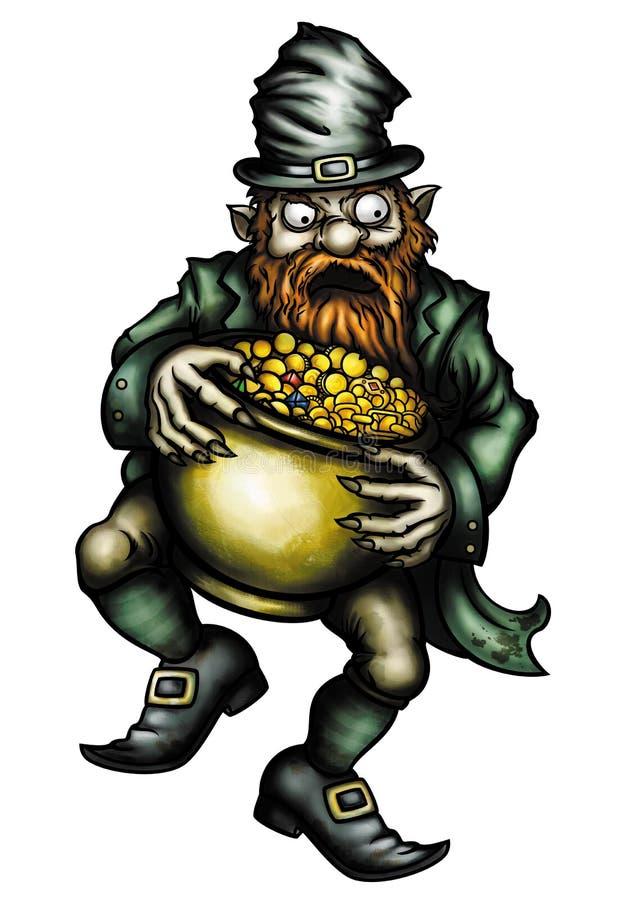 Lutin avide et un pot d'or illustration de vecteur