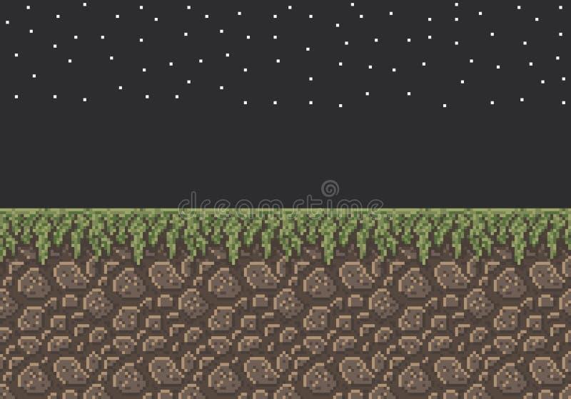 Lutin d'illustration d'art de pixel de vecteur - la saleté en pierre avec la nuit de texture d'herbe se tient le premier rôle illustration stock