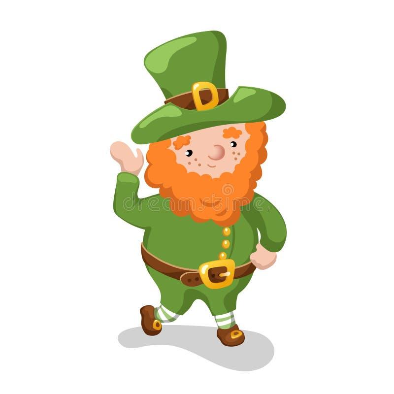 Lutin dans le chapeau vert sur le fond blanc Le symbole de St Patrick Day a isolé Illustration amicale de vecteur de lutin illustration stock