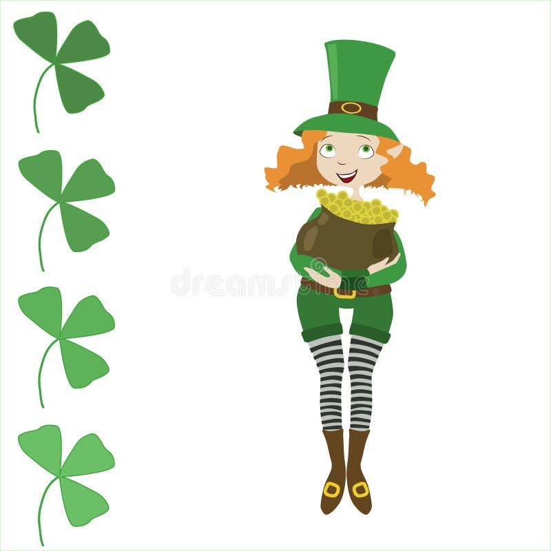 Lutin de fille habillé comme St Patrick avec le pot illustration stock