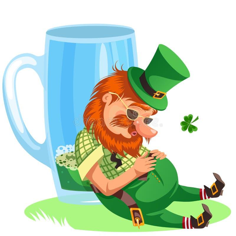 Lutin de jour de St Patrick avec la tasse de bière verte, pleine bière anglaise en verre d'alcool, cylindre bu d'homme avec le sy illustration stock