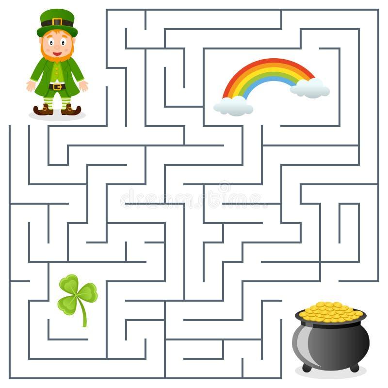 Lutin et pot de labyrinthe d'or pour des enfants illustration de vecteur