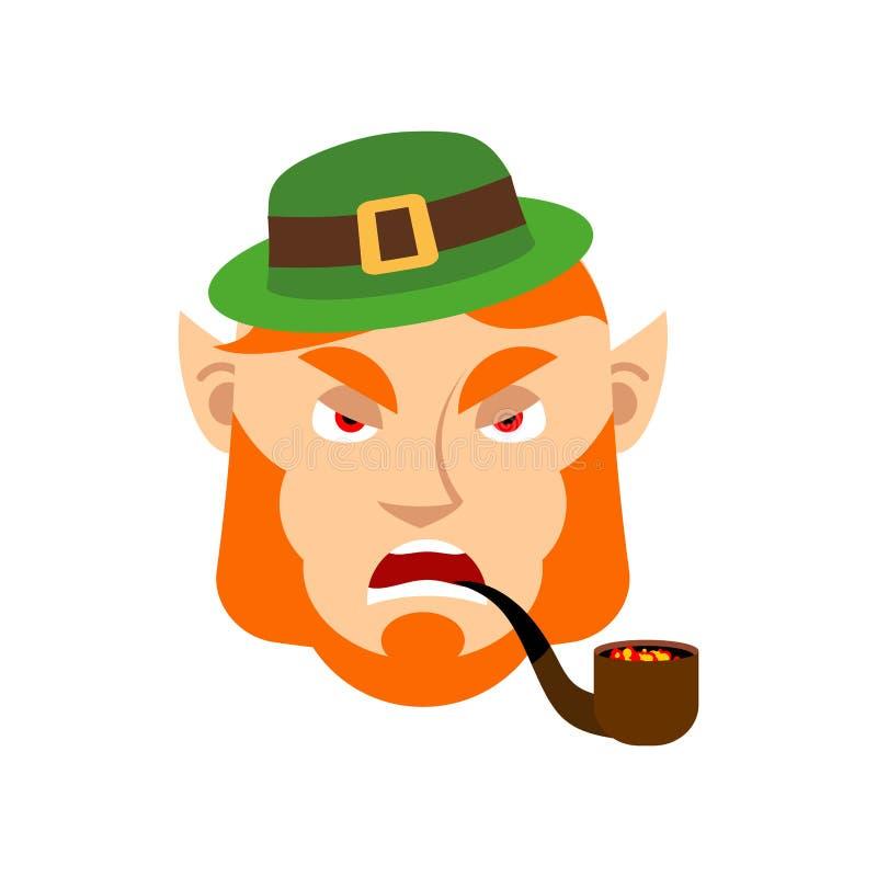 Lutin fâché Nain avec la barbe rouge Emoji agressif E irlandais illustration libre de droits