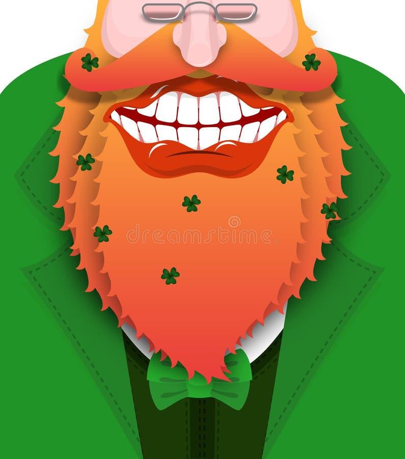Lutin gai avec la barbe rouge Bon gnome avec le grand sourire illustration de vecteur